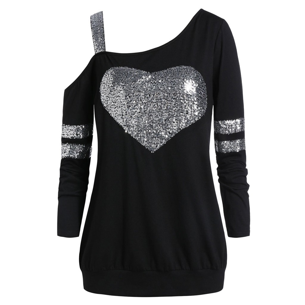 Fashion Women Plus Size Love Shape Sequined Skew Collar Tunic  Top Off Shoulder Sweater 2019