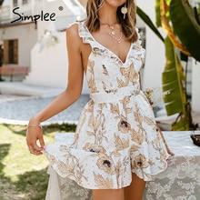 Short Jumpsuit Overall Romper Beach Simplee Holiday Floral-Print Elegant High-Waist Summer