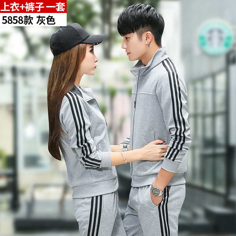 New Style Leisure Sports Suit Men's Spring And Autumn Running Women's Couples Long Sleeve Trousers Clothes Sports Clothing Print