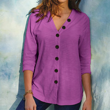S-5XL Plus Size Long Sleeve Women Solid T Shirt 2020 New Autumn Loose Tops Casual V-Neck Button Cardigan Tee Top Fashion Clothes