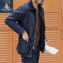 SauceZhan Classic Beaufort Waxed Jacket Mens Trench Coat Wool Jacket Waterproof