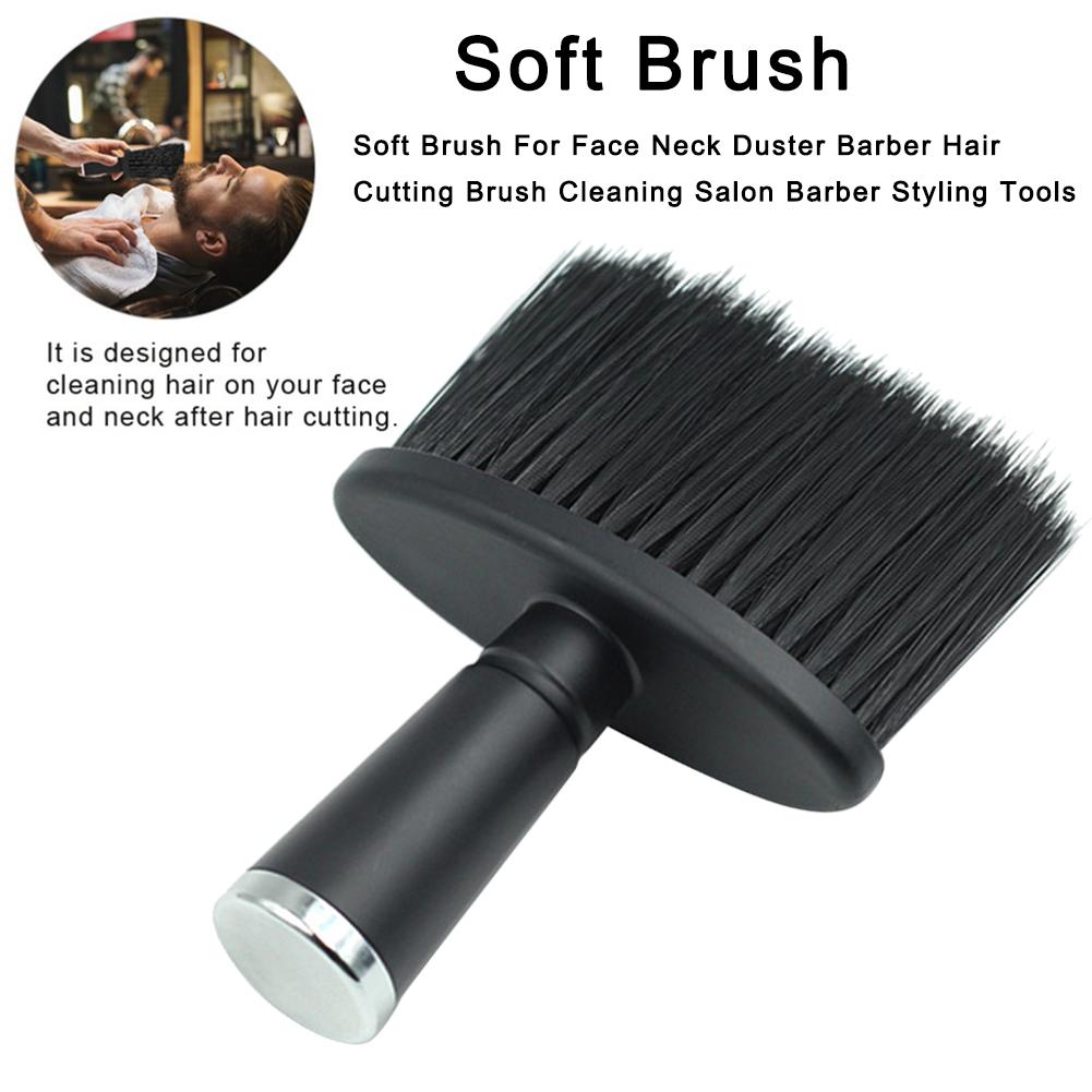 Soft Brush For Face Neck Duster Barber Hair Cutting Brush Cleaning Salon Barber Styling Tools Hair Crusher With Galvanized Handl