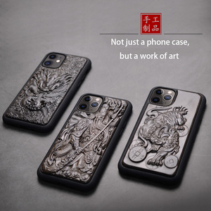 Image 4 - Luxus Geschnitzt 3D Stereo Ebenholz Holz Fall für iPhone 11 iPhone11 TPU Voll Schutzhülle Zurück Abdeckung Telefon Fällen Für iPhone 11 Pro Max