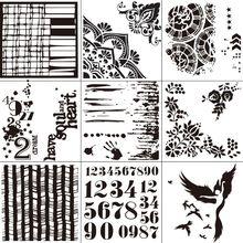 9pcs/set Number Dancing Stencils Template Painting Scrapbooking Embossing Stamping Album Card DIY цена
