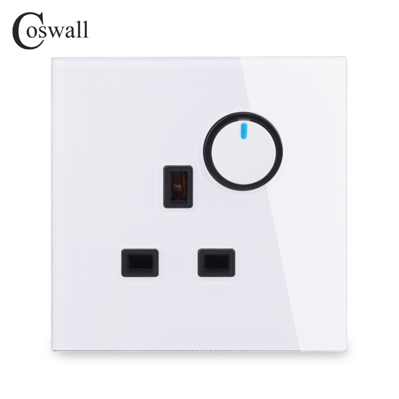 Coswall Glass Panel Wall 13A BS British Socket + 1 Gang 2 Way Pass Through On / Off Light Switch Switched With LED Indicator