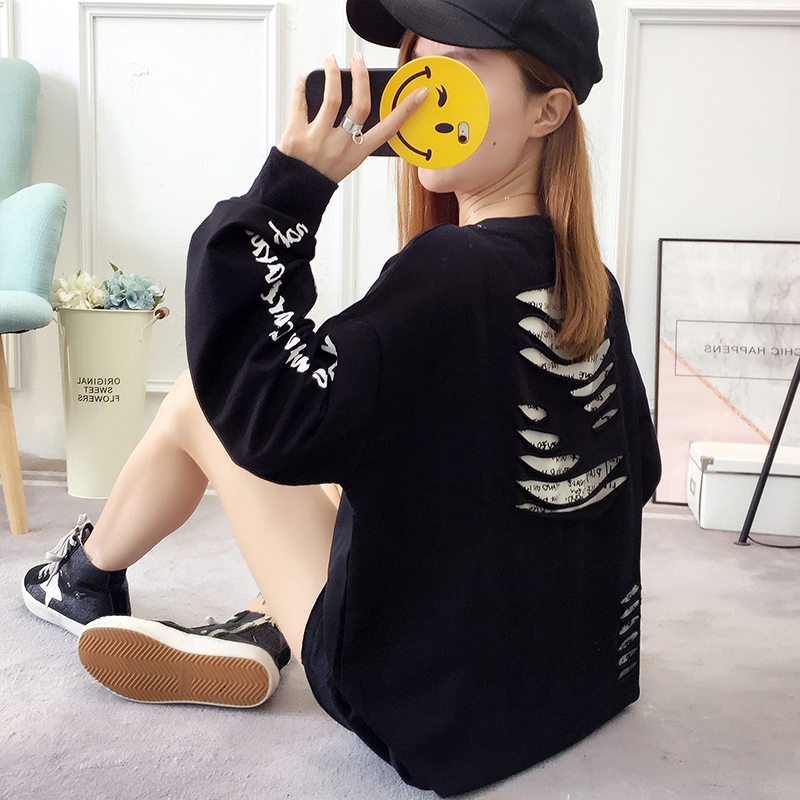 2019 autumn new Korean version of the XL T-shirt women's thin section long-sleeved loose hole wild T-shirt shirt women 58