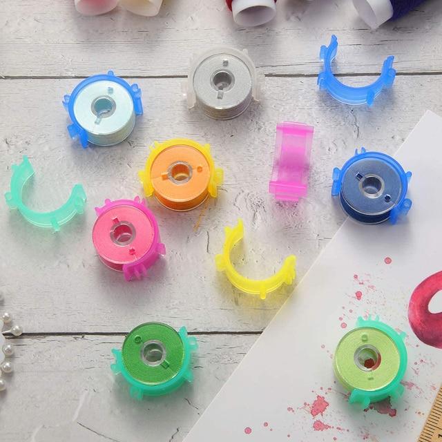 36pcs plastic sewing machine bobbins assorted colors threads фотография