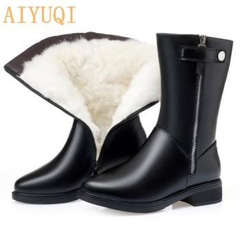 AIYUQI winter boots women Black Shoes Booties Big Size 35-43 Winter Genuine Leather Female Snow Boots Thick Warm Wool - discount item  48% OFF Women's Shoes