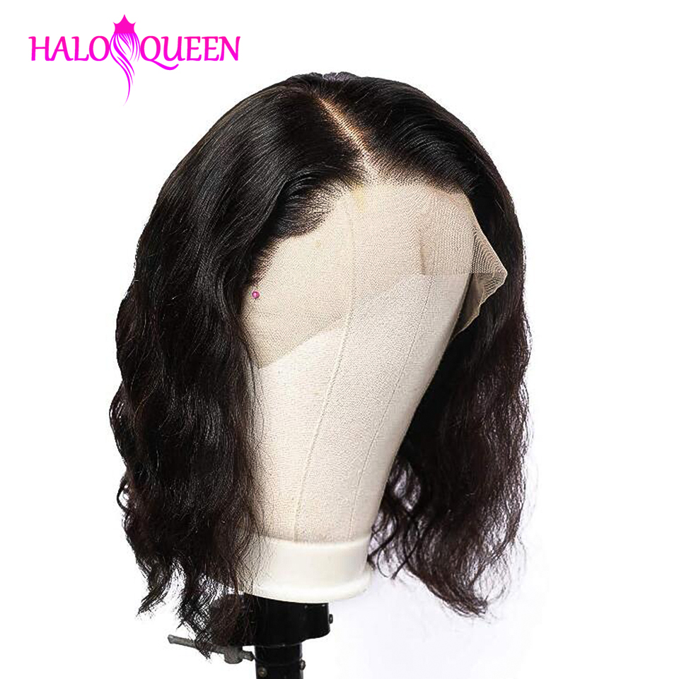 HALOQUEEN Short Human Hair Wigs Brazilian Body Wave Wig Hair Wavy Inch Short Bob Lace Front Human Hair Wigs For Black Women