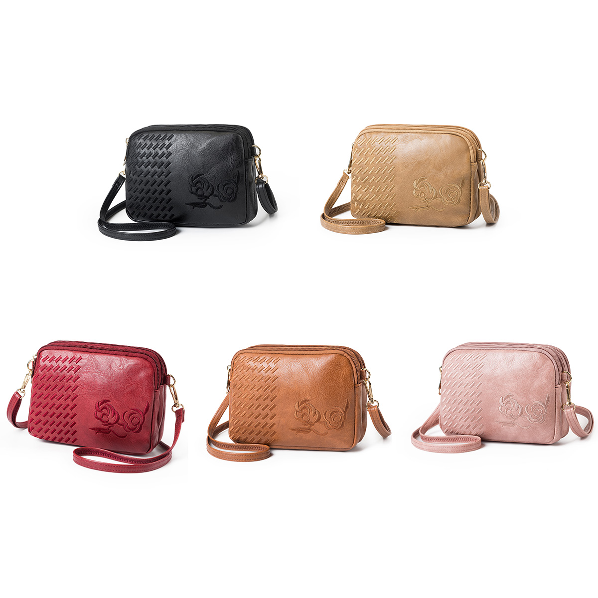 Fashion Women Vintage PU Leather Flower Embroidery Crossbody Bag Simple Multilayer Shoulder Bag Women Bag