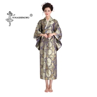 Yukata Women Japanese Traditional Floral Print Long Kimono back bow knot Stage Costume Japan Femme Cosplay Cotume Asian Clothing