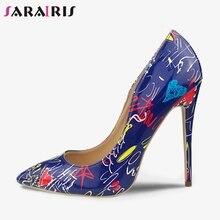 SARAIRIS INS Hot Sale Trendy Party Wedding Graffiti Pumps Women 2019 Sexy Super Thin High Heels Evening Shoes Woman Size 35-42