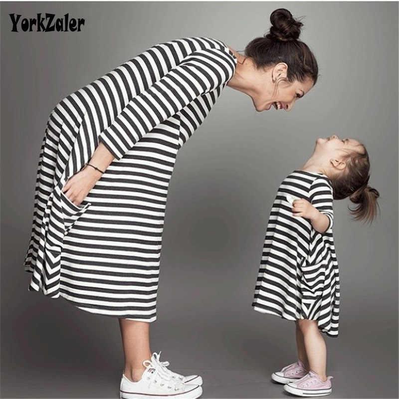 Yorkzaler ครอบครัวฤดูร้อนเสื้อผ้าแม่และลูกสาวชุดเดรสแฟชั่นชุดลำลองชุดครอบครัวเสื้อผ้า
