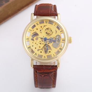 Luksusowe męskie zegarki moda złoty szkieletowy zegarki mężczyźni mechaniczny ręcznie nakręcany zegarki mężczyźni skórzany pasek Casual męskie zegarki na rękę GOER tanie i dobre opinie T-GOER Nie wodoodporne CN (pochodzenie) Klamra Moda casual Mechaniczna Ręka Wiatr 25 5cm STAINLESS STEEL Odporny na wstrząsy