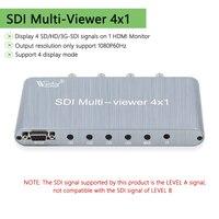 Wiistar SDI Schalter 4x1 SDI Multiviewer 4X1 SDI 4 in HDMI 1 Heraus 1080P60Hz SD/HD/3G-SDI RS232 für PC Video Konferenz TV Monitor