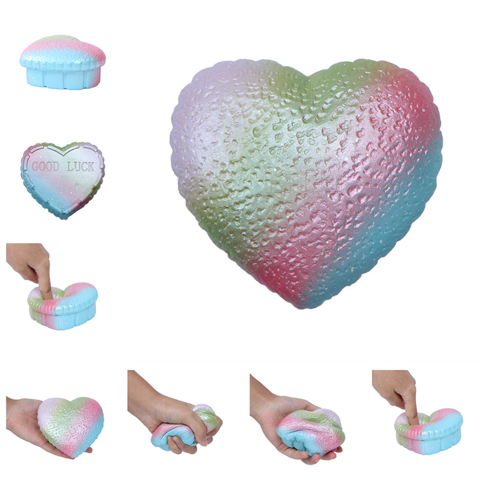 Colorful Love Squeeze Slow Rebound Toy Soft Galaxy Colorful Heart Slow Rising Scented Squeeze Relieve Stress Toy   L0110