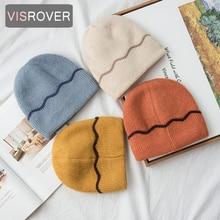VISROVER, 9 цветов, кашемировая шапка в полоску, зимняя шапка для женщин, вязаная шапка skullies beanies, теплая шапка, женская шапка, подарок