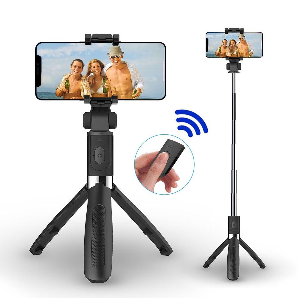 Bluetooth selfie vara para o telefone monopé selfie vara tripé para telefone iphone smartphone suporte vara pod tripe montar clipe