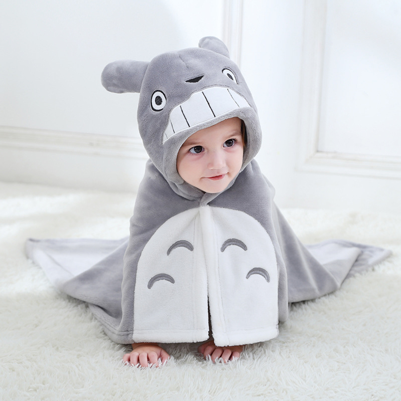 Cartoon Totoro Baby Towel Bath Towel Flannel Hooded Bathrobe Baby Stuff New Born Towels Toalla Kids Bath Towel