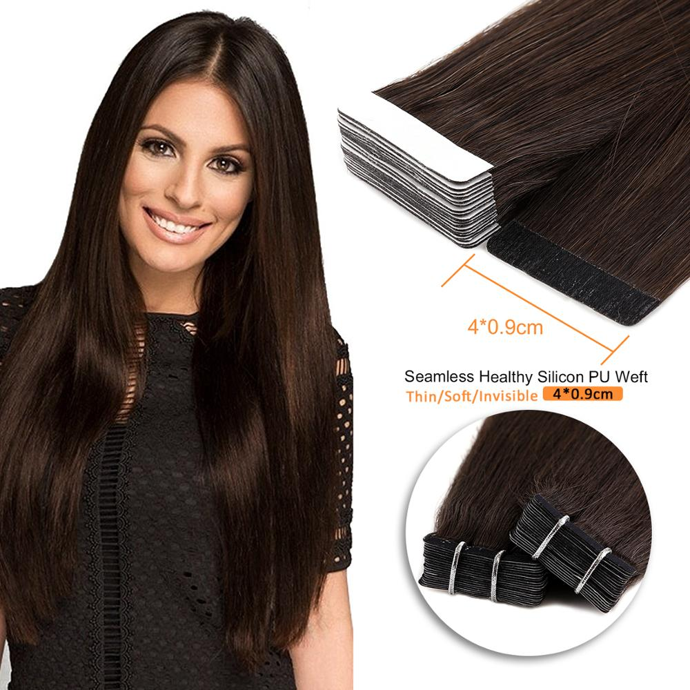 Neitsi Machine Made Remy Straight Skin Weft Adhesive Hair Double Side Tape In Human Hair Extensions 12