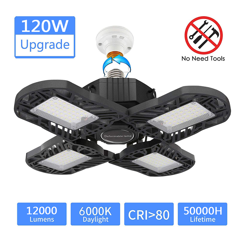LED Aluminum Garage Light 120W Upgrade 4 Panels 12000LM Deformable E27 Garage Ceiling Lighting, Adjustable Aluminum Wing 6000K