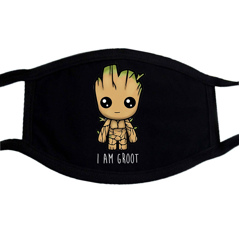 Marvel Cartoon Anime Cute Groot Masks Half Face Mouth Muffle Dustproof Masks Anti-dust Black Casual Cotton Warm Unisex Mask