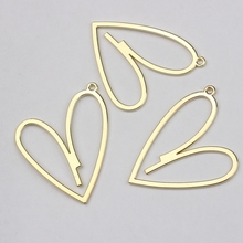 35mm 6pcs/lot Zinc Alloy Matte Golden Flat Hollow Heart Charms Pendant For DIY Jewelry Making Finding Accessories