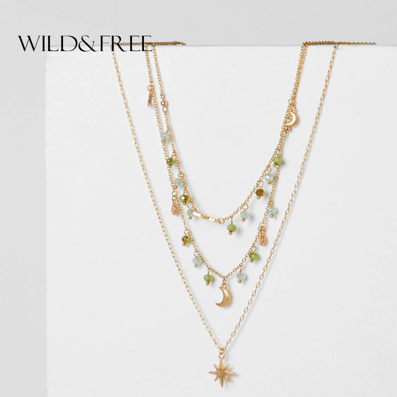 Wild&Free New Boho Moon Star Pendant Layered Necklace Green Beads Women Sexy Choker Necklaces Female Collier Vintage Jewelry