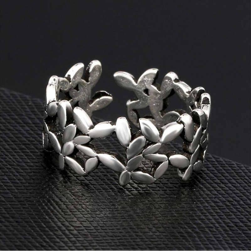 Retro thai prata oco flor abertura dedo anel 925 prata esterlina vintage anéis para jóias femininas S-R300