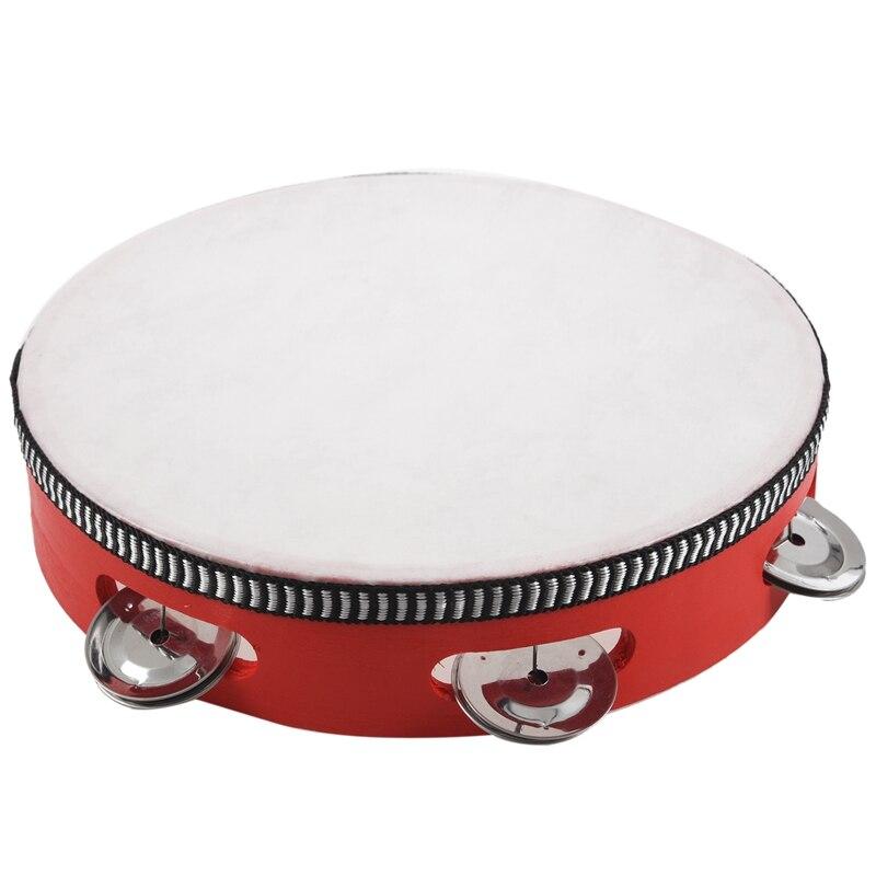 Spor ve Eğlence'ten Davul'de 8 inç müzik tef Tamborine davul yuvarlak perküsyon hediye KTV parti için kırmızı title=