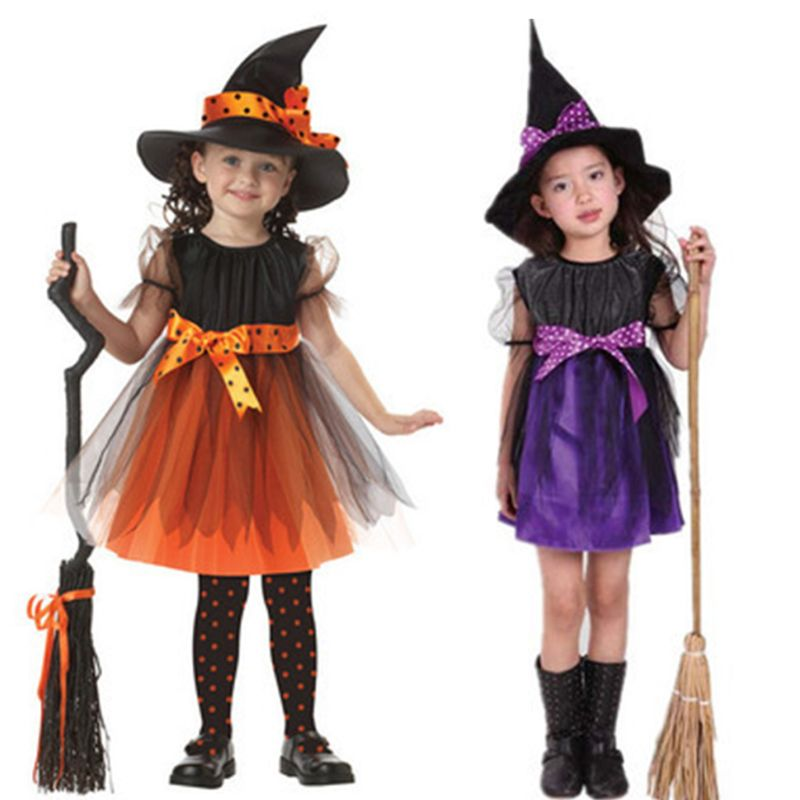 Toddler Girl Witch Cosplay Costume Kids Short Sleeve Dress With Polka Dot Ribbon Pointed Hat For Halloween Fairytale Party Props