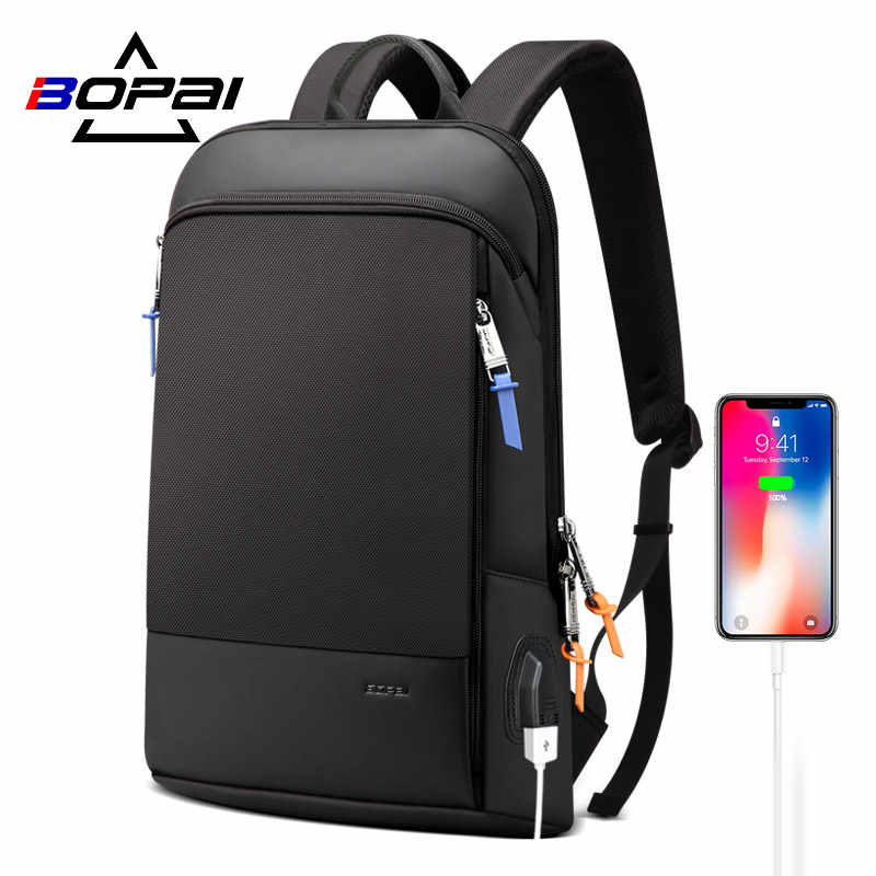 BOPAI Updated Version Super Slim Laptop Backpack USB Charging Port Men Anti Theft Backpack Waterproof College Backpack