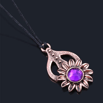 The Elder Scrolls Necklace Amulet of Mara Purple Crystal Sunflower Pendant Chokers Adjustable Rope Chain Cosplay Jewelry image