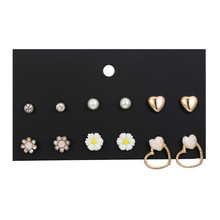 New fashion women earring jewelry girls birthday party flower heart ear stud mix and match pretty 6pair/set earrings sets gift