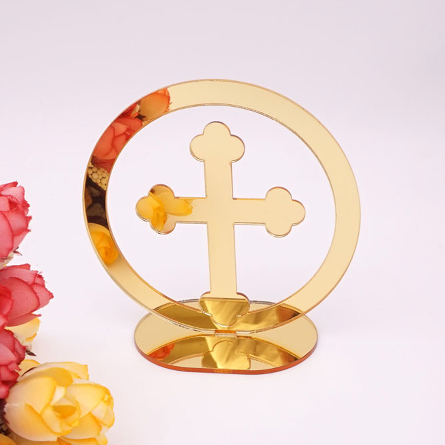 20pcs Acrylic Mirror Circle Cross Table Standing Home Decor 10cm High The Lord's Prayer For Christening & Baptism House Moving