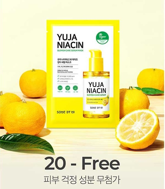 SOME BY MI Yuja Niacin Blemish Care Serum Mask 10ea Moisturizing Brighten Whitening Mask Oil-control Shrinkage Pore Antioxidant 2