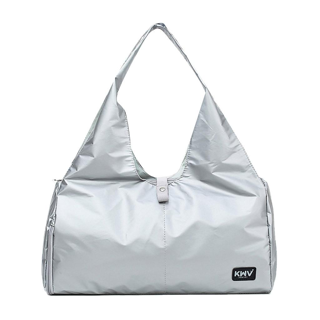 Silver Sports Gym Fitness Dry Wet Separation Yoga Bag Travel Handbags For Shoes Women The Shoulder Sac De Sport Luggage Duffle P
