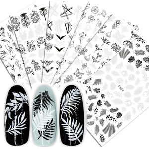 1pcs Black White Floral Letter Nail Sticker Nail Art Adhesive Decals Geometry Hollow Designs 3D Manicure Decor Wraps JIF564-573(China)