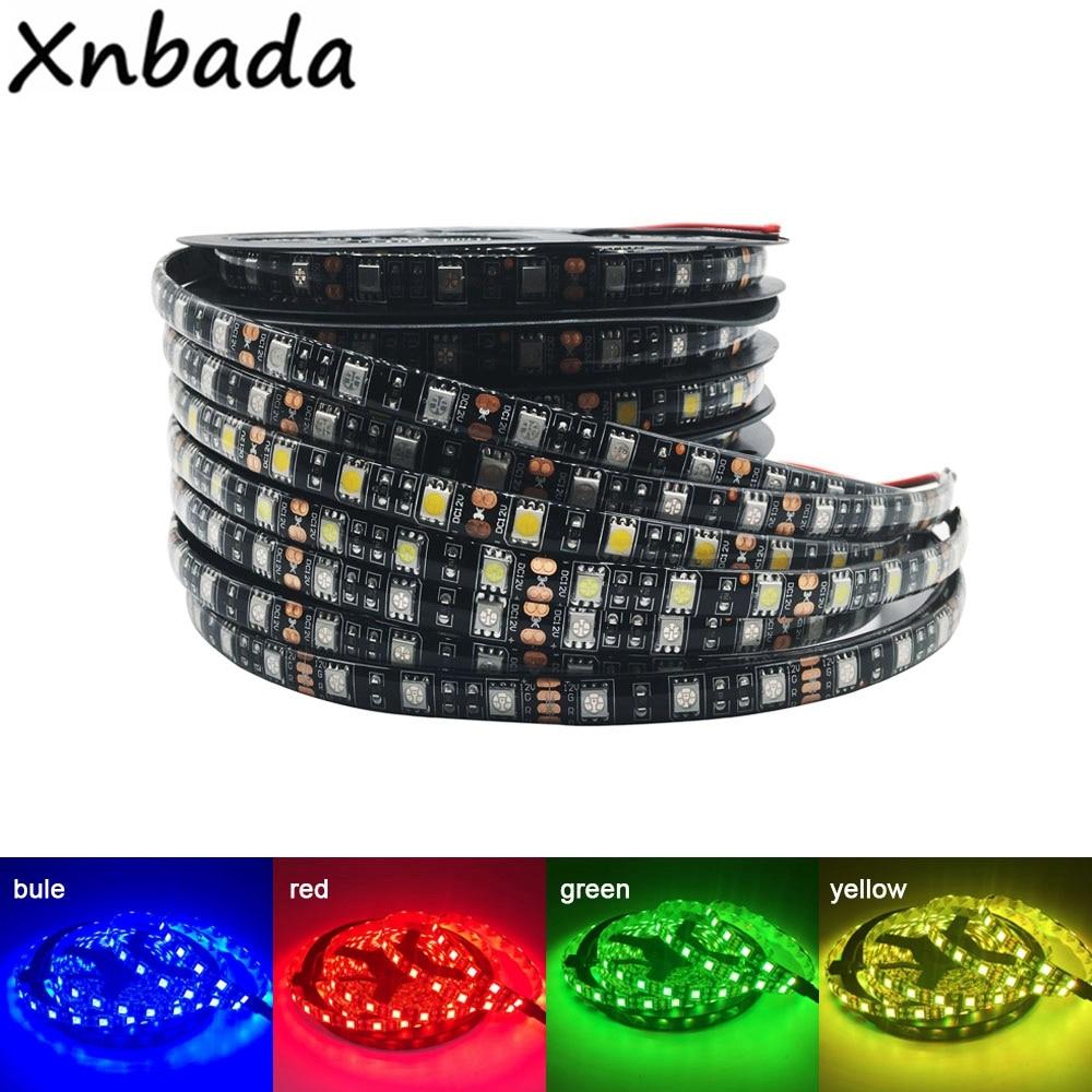 DC12V LED Strip 5050 60 LEDs/m Flexible Black PCB LED Light RGB /Warm White/Red/Green/Blue/Yellow 1M 2M 3M 4M 5M Waterproof IP65