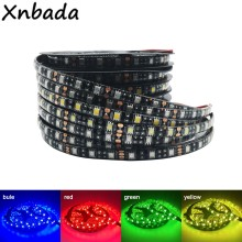DC12V tira de LED 5050 60 LEDs/m PCB flexible negro luz LED RGB/blanco cálido/Rojo/verde/azul/amarillo 1M 2M 3M 4M 5M impermeable IP65(China)