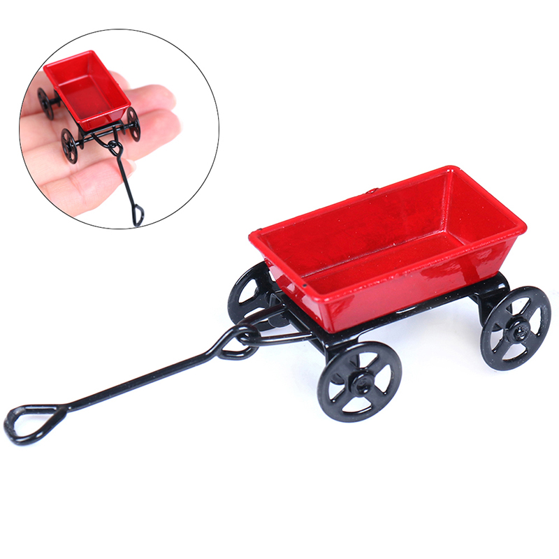 1:12 Mini Cute Dollhouse Toy Gifts Ornament Miniature Metal Red Small Pulling Cart Garden Furniture Accessorie