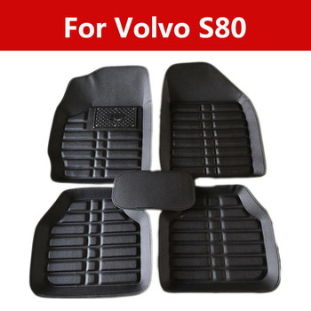 Top Quality 3d Black Brown Leather Car Floor Mats Foot Pads For Volvo S80 Full Set Carpet Floor Mats image
