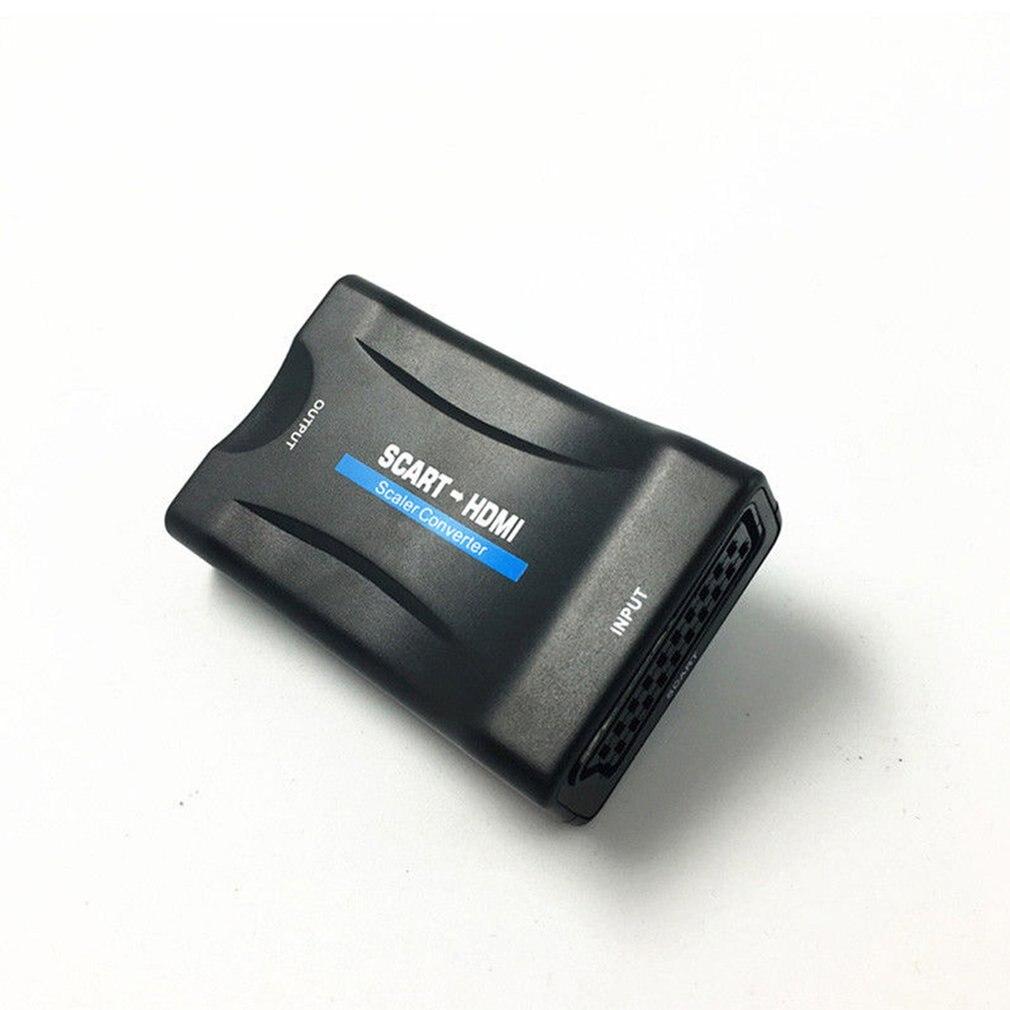 Convertidor Scart ABS 1080 P convertidor HDMI adaptador de señal de Audio y vídeo HD con adaptador de carga enchufe EE. UU./UE/AU