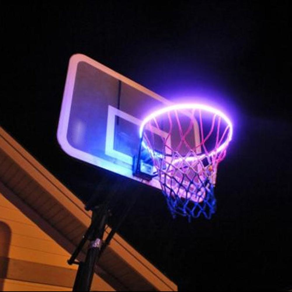 Solar Basket Hoop LED Play On The Basketball Edge Illuminated At Night Shoot Rings On LED Strip Night Lamp