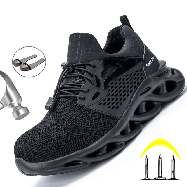Dropshipping Men Safety Shoes Steel Toe Cap Work Sneakers Men Boots Plus Size 36-48 Breathable Outdoor Work Shoes Men Footwear 1