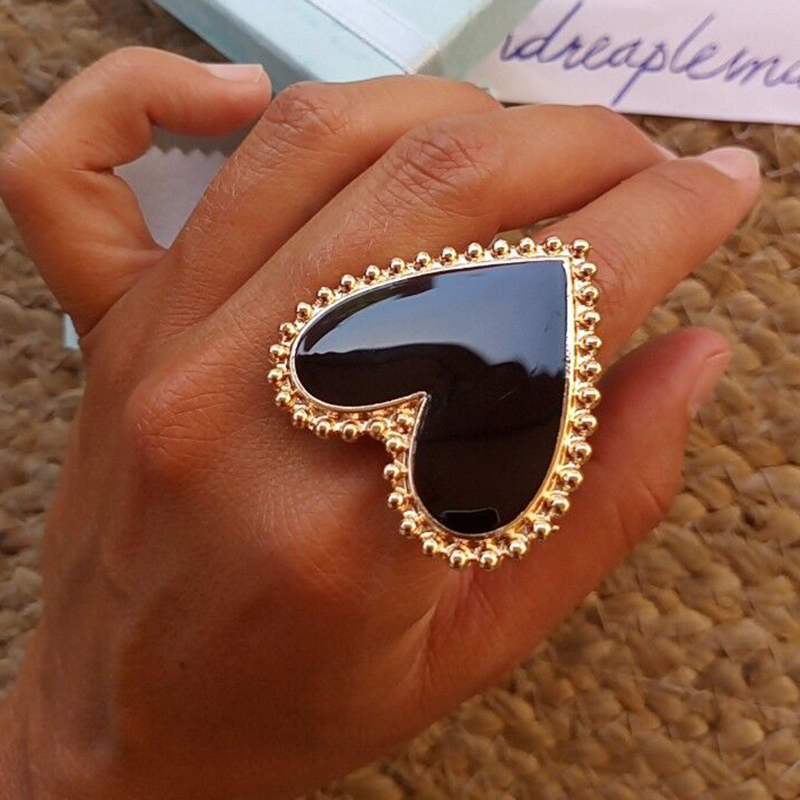 AENSOA Bohemian Heart Gold Clor Rings For Women BOHO Love Heart Round Enamel Ring 2019 Female Finger Statement Fashion Jewelry