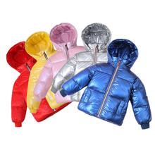 Zimowy puchowy płaszcz dziecięcy płaszcz z kapturem dla niemowląt chłopcy dziewczęta puchowa kurtka ciepła dziecięca odzież wierzchnia dla dzieci odzież dla 3-10 lat tanie tanio KEAIYOUHUO Moda Poliester COTTON Stałe REGULAR Kurtki płaszcze Pełna Pasuje prawda na wymiar weź swój normalny rozmiar
