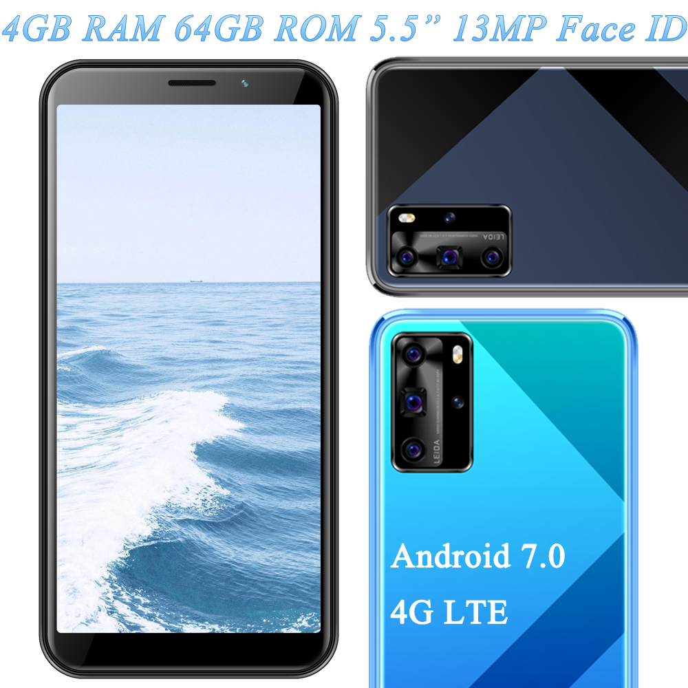 4G LTE Note 9 5MP+13MP Face ID 4G RAM 64G ROM Unlocked Global Smartphones Mobile Phones Front/Back Camera 5.5 inch Android 7.0