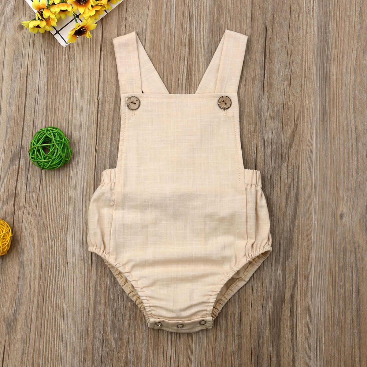 Nuevo 2020 bebé recién nacido bebés niñas mameluco de verano de algodón sin mangas de una pieza de suspensión monos ropa de algodón trajes