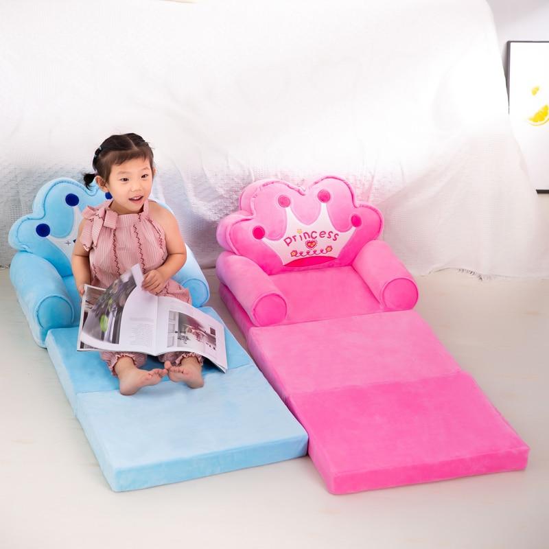 3 camadas apenas cobrir sem enchimento do bebê crianças sofá moda dos desenhos animados coroa assento cadeira criança crianças capa para sofá dobrável